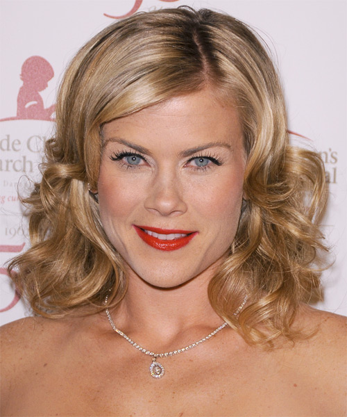 Alison Sweeney Medium Wavy Formal    Hairstyle   - Dark Blonde Hair Color with Light Blonde Highlights