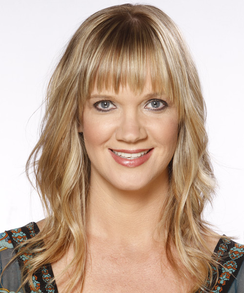 Long Wavy Casual   Hairstyle with Layered Bangs  - Medium Blonde (Golden)