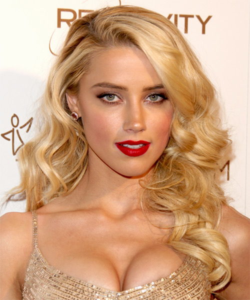 Amber Heard Long Wavy Casual   Hairstyle with Side Swept Bangs  - Light Blonde (Honey)