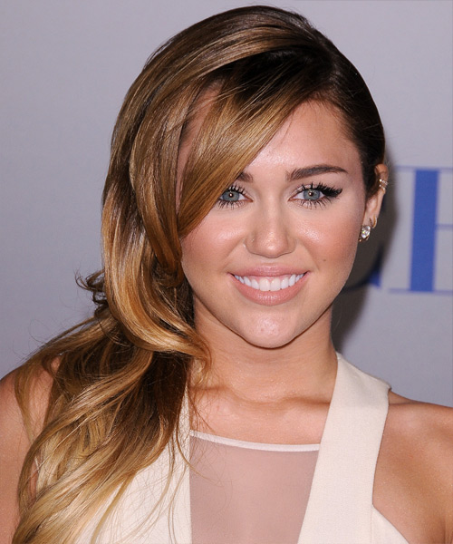 Miley Cyrus Long Straight Formal    Hairstyle   -  Caramel Brunette Hair Color with  Blonde Highlights