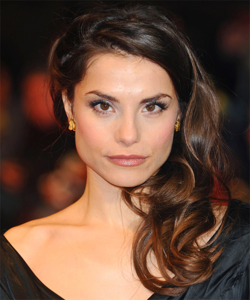 Charlotte Riley  Half Up Long Curly Formal  Half Up Hairstyle   - Dark Brunette