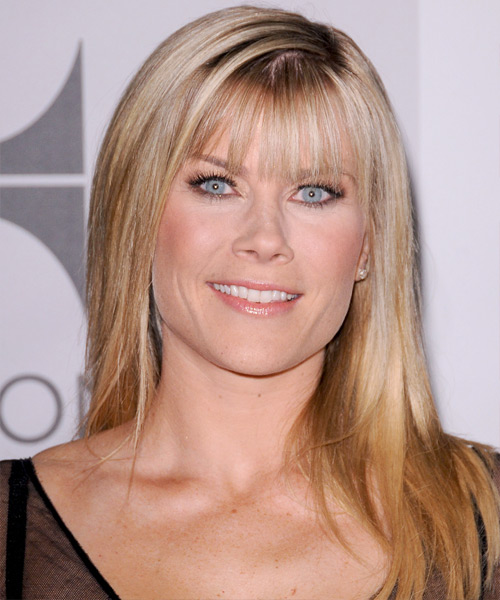 Alison Sweeney Long Straight Formal   Hairstyle with Blunt Cut Bangs  - Medium Blonde (Honey)