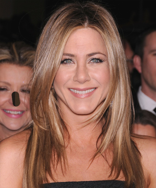 Jennifer Aniston Long Straight   Light Caramel Brunette   Hairstyle   with Light Blonde Highlights