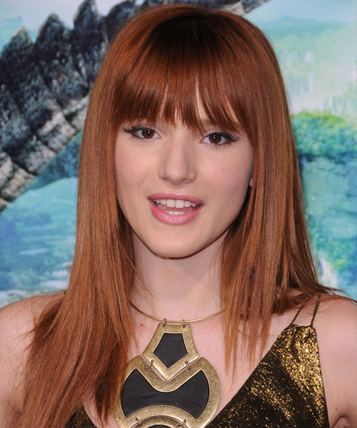 Bella Thorne Long Straight Formal   Hairstyle with Layered Bangs  - Medium Brunette (Copper)