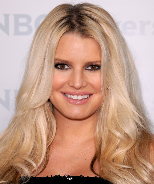 Jessica Simpson Long Wavy Casual    Hairstyle   - Light Golden Blonde Hair Color with Light Blonde Highlights