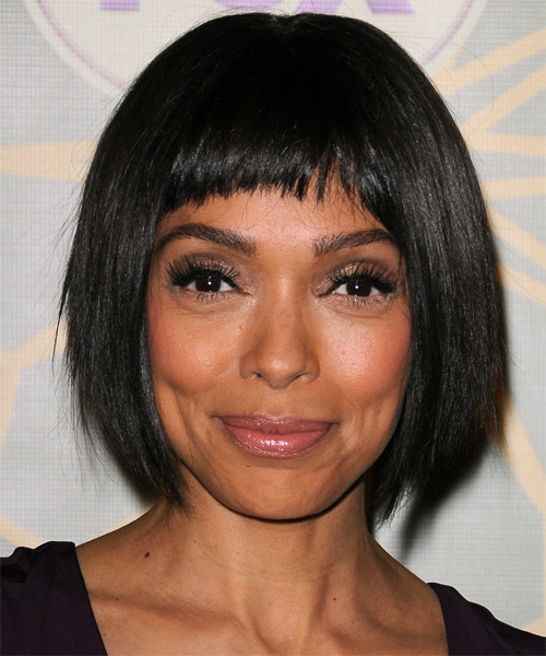 Tamara Taylor Short Straight Casual   Hairstyle with Layered Bangs  - Black