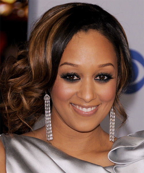 Tia Mowry  Long Curly   Black Copper   Updo    with  Blonde Highlights