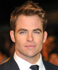 Chris Pine Short Straight Formal    Hairstyle   - Light Golden Brunette Hair Color with  Blonde Highlights