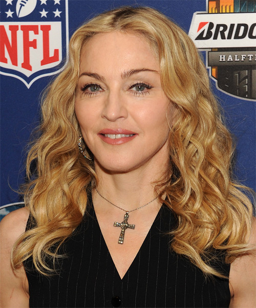Madonna Long Curly Casual    Hairstyle   -  Golden Blonde Hair Color with Light Blonde Highlights