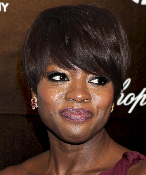 Viola Davis Short Straight Mocha Hairstyle With Layered Bangs