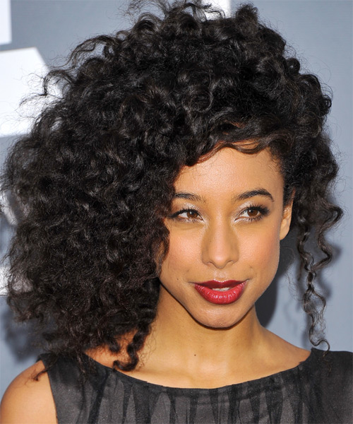 Corinne Bailey Rae Medium Curly Alternative   Hairstyle   - Black