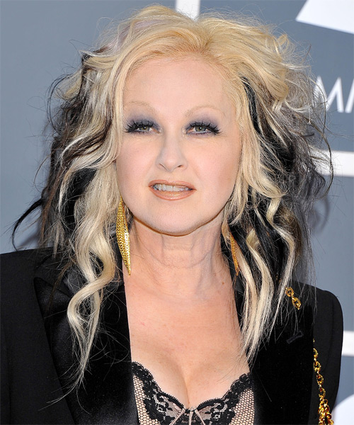Cyndi Lauper Long Wavy Alternative    Hairstyle   - Light Platinum Blonde and Black Two-Tone Hair Color
