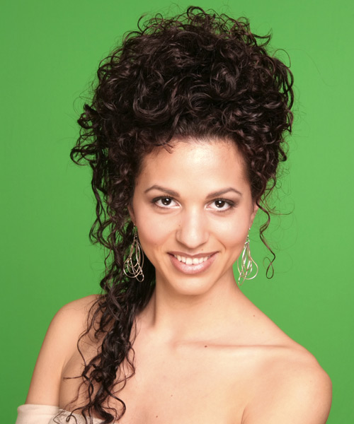 Long Curly Formal   Updo Hairstyle   - Dark Brunette Hair Color
