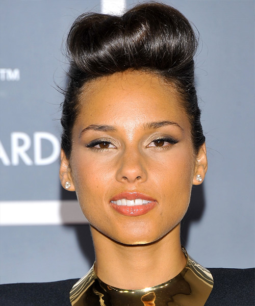 Alicia Keys Formal Long Straight Emo Updo Hairstyle