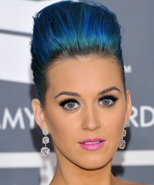 Katy Perry  Medium Straight Formal  Emo Updo Hairstyle   - Blue Bright  Hair Color