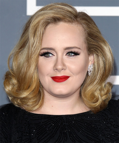 Adele Medium Wavy Formal Layered Bob  Hairstyle   - Dark Champagne Blonde Hair Color with Light Blonde Highlights