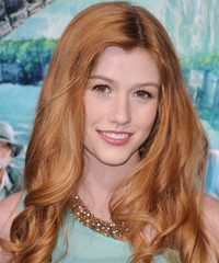 Katherine McNamara Long Wavy Casual    Hairstyle   - Light Ginger Red Hair Color
