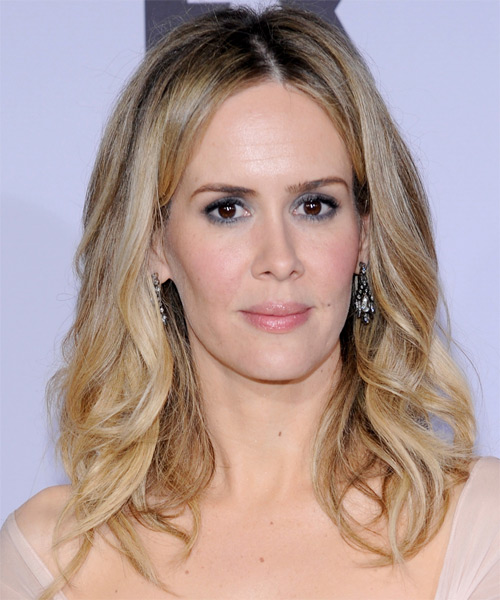 Sarah Paulson Medium Wavy Casual    Hairstyle   -  Blonde Hair Color with Light Blonde Highlights