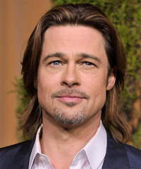 Brad Pitt Long Straight Casual    Hairstyle   -  Brunette Hair Color with Light Brunette Highlights