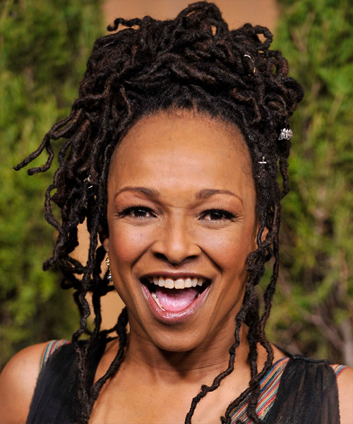 Siedah Garrett  Long Curly Alternative  Braided Updo Hairstyle   - Black  Hair Color