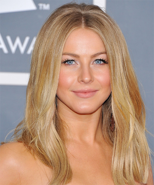 Julianne Hough Long Straight    Champagne Brunette   Hairstyle   with Light Blonde Highlights