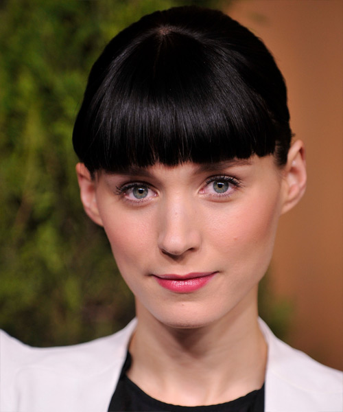 Rooney Mara  Long Straight   Black   Updo  with Blunt Cut Bangs