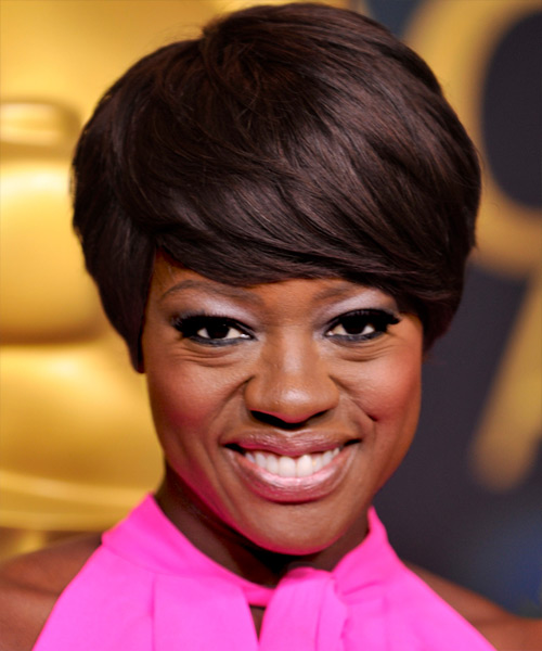 Viola Davis Short Straight Formal   Hairstyle with Side Swept Bangs  - Dark Brunette
