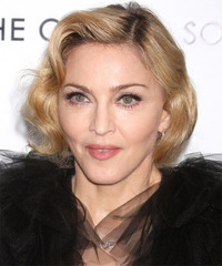 Madonna Short Wavy Formal Layered Bob  Hairstyle   -  Golden Blonde Hair Color