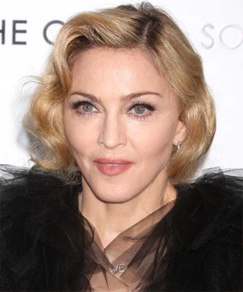 Madonna Short Wavy Layered   Golden Blonde Bob  Haircut