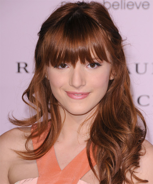 Bella Thorne Half Up Long Curly Casual  Half Up Hairstyle with Layered Bangs  - Dark Red (Auburn)