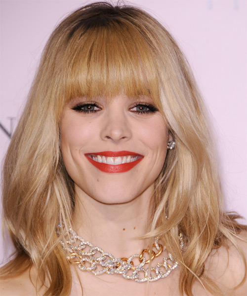 Rachel McAdams Long Straight Formal   Hairstyle with Blunt Cut Bangs  - Medium Blonde (Golden)