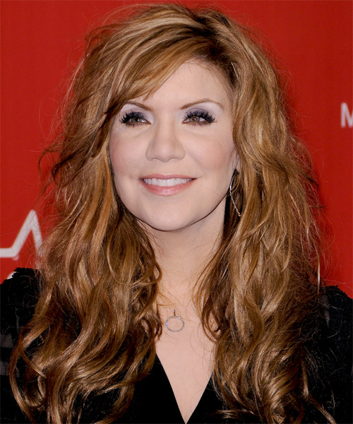 Alison Krauss  Long Wavy Casual   Hairstyle with Side Swept Bangs  - Light Brunette