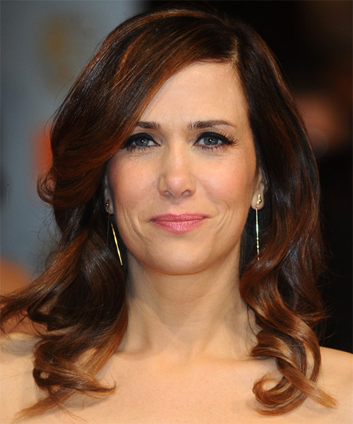 Kristen Wiig  Medium Wavy Formal    Hairstyle   - Dark Chocolate Brunette Hair Color with  Brunette Highlights