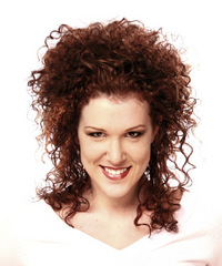 Long Curly Formal   Updo Hairstyle   - Dark Mahogany Red Hair Color