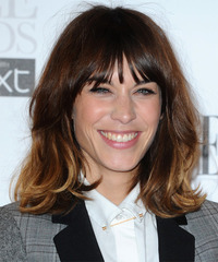 Alexa Chung Medium Straight Layered  Dark Brunette and  Blonde Two-Tone Bob  Haircut with Layered Bangs