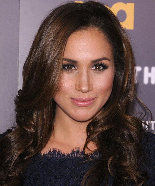 hair styles medium meghan markle wavy formal hairstyle chocolate 5385