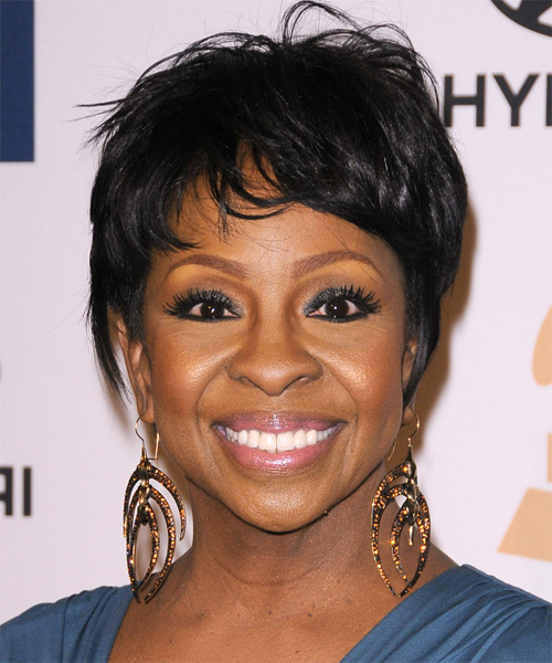 Gladys Knight Short Straight Casual   Hairstyle with Layered Bangs  - Black
