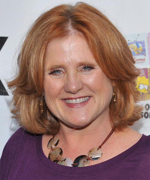 Nancy Cartwright Medium Straight Layered  Light Ginger Red Bob  Haircut