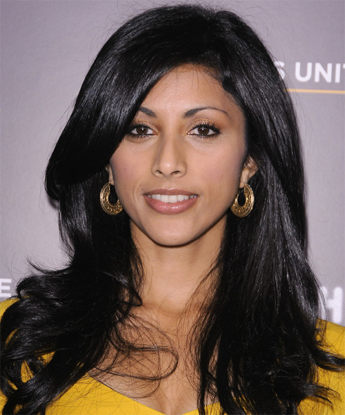 Reshma Shetty Long Straight Formal   Hairstyle   - Black (Ash)