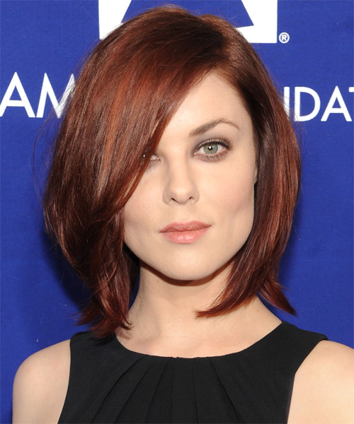 Anna Nalick Medium Straight Layered  Dark Auburn Red Bob  Haircut