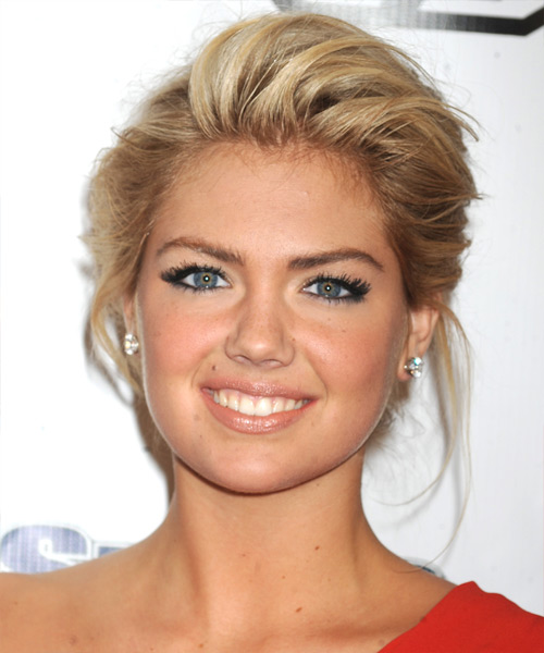 Kate Upton Updo Medium Straight Formal  Updo Hairstyle   - Dark Blonde (Golden)