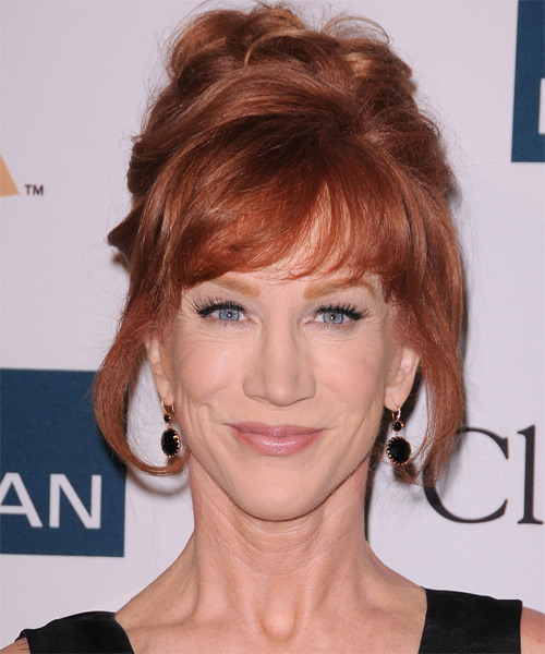 Kathy Griffin Updo Long Straight Formal  Updo Hairstyle with Side Swept Bangs  - Medium Red (Copper)