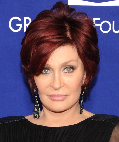 Sharon Osbourne Short Straight    Burgundy Red   Hairstyle with Side Swept Bangs