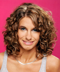 Medium Curly Formal    Hairstyle   -  Chestnut Brunette Hair Color