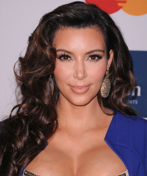 Kim Kardashian Long Wavy Formal    Hairstyle   - Black Auburn  Hair Color with  Brunette Highlights
