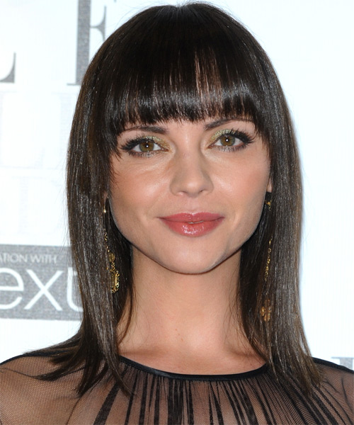 Christina Ricci Medium Straight Formal   Hairstyle with Blunt Cut Bangs  - Black