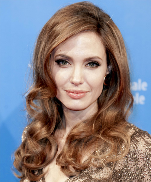 Angelina Jolie Long Wavy Formal    Hairstyle   - Light Brunette Hair Color