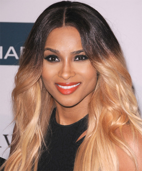 Ciara Long Straight Layered  Black  and  Blonde Two-Tone Bob  Haircut