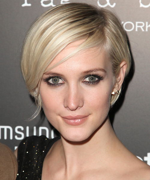 Ashlee Simpson Short Straight Casual Layered Bob  Hairstyle   - Light Ash Blonde Hair Color with  Blonde Highlights