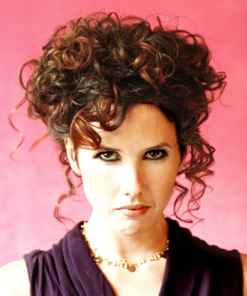 Long Curly Formal   Updo Hairstyle   - Medium Mahogany Brunette Hair Color